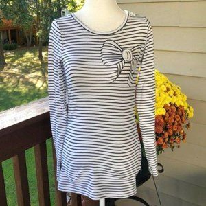 The Limited Black/White Striped Tee, Sz XS